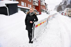 Anne-Charlotte Åström vid den avstängda vägen som går förbi hennes företag.