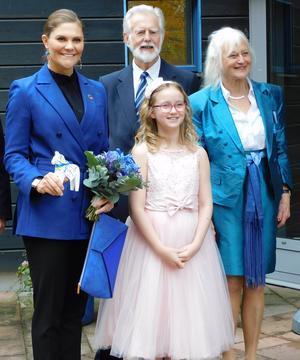 Kronprinsessan Victoria, Wilma Albertsson, Barndiabetesfondens ordförande, professor Johnny Ludvigsson och Ulla Ludvigsson.