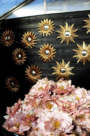 Guldspeglar och rosa blommor.