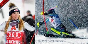 Mikaela Shiffrin och Anna Swenn-Larsson. Foto: AP Photo/Giovanni Auletta och Nisse Schmidt