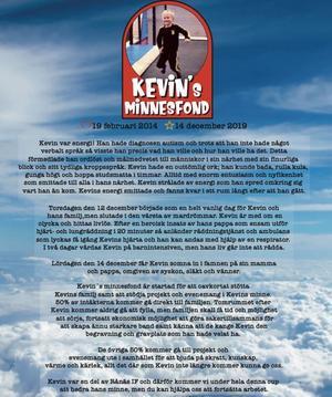 Kevins minnesfond.