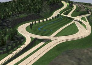 Den nya planskilda korsningen vid Timmervägen och E14. Skiss: Pressbild