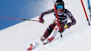 Frida Hansdotter får sikta in sig på att försvara fjolårets slalomtävling en dag tidigare. Bild: TT.