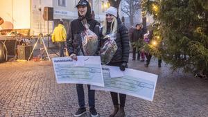 Landsvägscyklisten Clara Lundmark och mountainbikecyklisten André Czarnecki var mycket glada över sina stipendium.