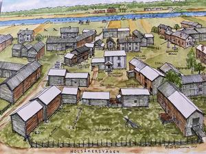 Så här antar man att Finn Olars och granngårdarna såg ut omkring år 1900. Husen med vita tak finns inte kvar idag. Illustrationen är gjord av Elias Bernsveden, HOS Arkitekter AB, och finns med i boken.