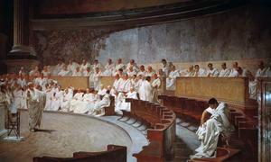 Peter Handke utforskar den romerska rättens språkliga och filosofiska natur i sitt författarskap. Målning av Cesare Maccari från 1889.