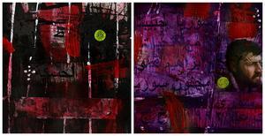 """Två bilder ur utställningen """"Farväl Syrien"""". Första till vänster föreställer födelsen i staden Hasake och den andra döden när han lämnade Syrien 1992. Konstnären berättar om den fina respons han fått av besökare som berörts av utställningen som hade vernissage i tisdags."""