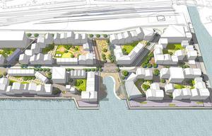 Så här ska den nya stadsdelen i Hudiksvall se ut. Infrastrukturen byggs just nu av Ljusdalsföretaget Hälsinge Markentreprenad.