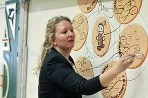 Elin Fors visade eleverna hur hennes framtidskarta sett ut hittills.