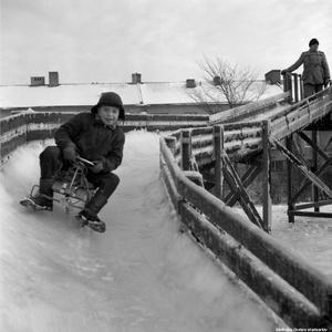 Full fart i bobbacken vid Tegnérlunden, 1955. Foto: Erik Arlebo