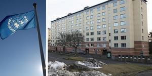 FN varnar för Hembla. Två av bostadsbolagets fastigheter på Klövjevägen i Ronna, Södertälje. Hembla hette tidigare D. Carnegie.