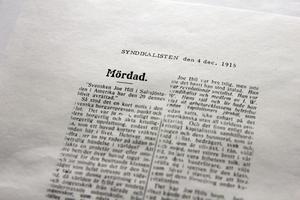 Ur tidningen Syndikalisten, om Joe Hills avrättning.