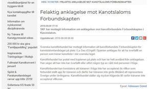 Kanotförbundets svar på incidenten med Sixten Björklund och Jim Jayes publicerad på kanotförbundets hemsida, kanot.com, den 9 september.