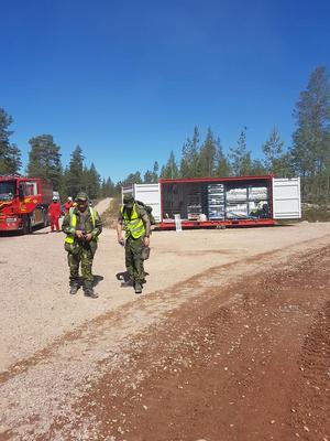 Hemvärnsbataljonen har under helgen assisterat räddningstjänsten i Älvdalen. Foto: Peter Engman