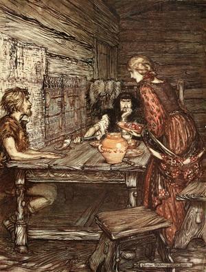 Hunding noterar hur lik hans unga hustru Sieglinde är den vackre främlingen Siegmund. Illustration från 1910 av Arthur Rackham till Richard Wagners opera