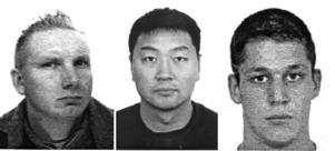 De tre internerna som fritogs från Norrtäljeanstalten 2004 var Mårten Ami Tammiharju, dömd till sex år och nio månader för försök till mord. Basim Peter Sin Bottany, dömd till tolv års fängelse för förberedelse till mord, grovt narkotikabrott och vapenbrott. Tony Kristian Palmroth, dömd till fyra år och två månader för grovt rån. Foto: Polisen