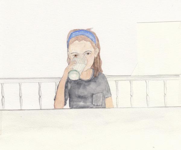 Liv dricker mjölk, men var kommer mjölken i glaset ifrån? Illustration av Ingrid Wisell ur hennes bok