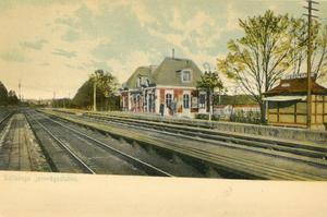 Ett kolorerat vykort som visar hur järnvägsstationen i Saltskog såg ut.