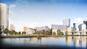 Bjarke Ingels Groups vision för Västerås sett från Mälaren. Illustration: Bjarke Ingels Group