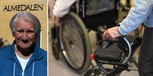 Jag ser de som sitter i rullstolar eller är bundna till sängen. Jag ser också dementa människor som lever i sin egen värld. Många har krokiga händer, ben och ryggar som vittnar om hårda arbeten under deras arbetsliv, skriver Harry Persson som bor på Almedalens äldreboende i Sundsvall. Foto: Privat och TT