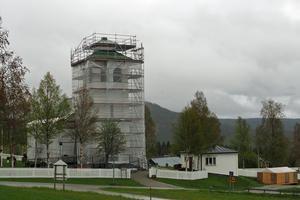 Tännäs kyrka under renoveringen.