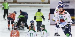 Kasper Milerud lämnade Sävstaås i ambulans.