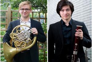 Robert Mehlig, horn och Leonardo Bizzotto, fagott. Pressfoto