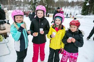 Emmy Änges, Greta Nilsson, Ida Nilsson och Alicia Snis åkte skridskor och fikade.