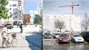 Bilden till vänster visar hur Sjötullstorget i Norrtälje Hamn kommer att se ut. Kvinnan med cykeln är framför Åtellet och längre bort syns vita fasaden på första bostadshuset. Till höger samma vy fast i nutid