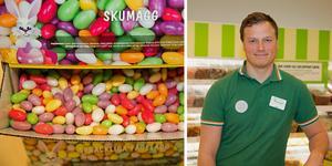 Gustaf Weinebrandt, säljchef på Stora Coop vid Vasa handelsplats, konstaterar att godisförsäljningen femdubblas under påskveckan.