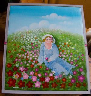 Marion Belins senaste målning. Kvinna på sommaräng. Hon väljer ofta att skildra naturen på ett koncentrerat sätt. En äng och ett eller ett par träd istället för att måla hela landskap.