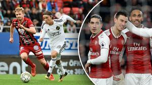 Till vänster: AIK:s Kristoffer Olsson i en löpduell med Östersunds Ludvig Fritzson i fjol. Till höger: Arsenal jublar, däribland Laurent Koscielny.