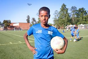 Abdullahi Ahmed Mohamed gillar samlingarna innan träning.