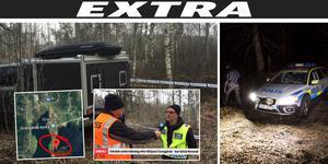 Polisen ska undersöka likfyndet som gjorts utanför Grangärde i Ludvika kommun (röda ringen på kartan). Obs: Bilden på polisbilen är tagen under onsdagskvällen.