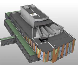 Såhär ser ritningen för det nya häktet ut. Frivården i markplan, 14 celler högre upp och på taket fyra promenadgårdar. Bild: Kungsleden