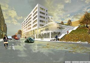 Det nya flerbostadshuset ska ligga i Orionkullens nederkant där gamla flickskolan skymtar uppe till höger. Huset ses här från Ekdalsgatan. Bild: Södertälje kommun/ByggVesta