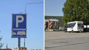 Sommarens husbils- och husvagnsparkeringar är bakom Hedbergska gymnasieskola och vid utsiktsplatsen Sundsvallsbron.