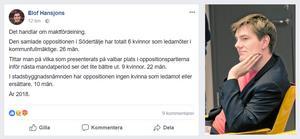 Kommunalrådet Elof Hansjons (S) facebookinlägg.