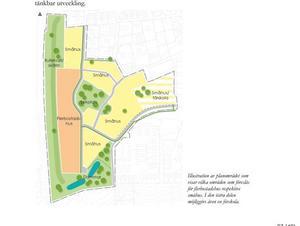 Ny mark i Hovsta som ska bebyggas enligt ett förslag.  Det ska bli 150 bostäder. Häften av marken är privatägd och resten är kommunens. Illustration: Örebro kommun