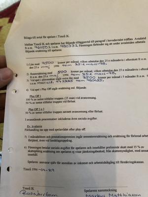 Markus Matthiasson twittrade själv ut kontraktet, som han förhandlade med Rolf Norrbom.