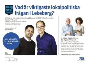 NA:S ledarskribenter David Lindén och Lars Ströman frågar ut politikerna i Lekeberg under tisdagskvällen.