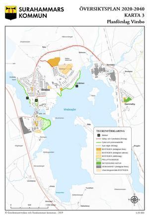 Så här föreslås att Virsbo ska utvecklas kommande 20 åren. Karta:Geodatasamverkan och Surahammars kommun