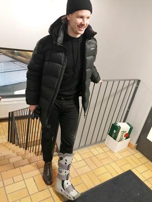 David Pizzoni Elfving på Zinkensdamm i samband med annandagsderbyt mot Tellus. Då med foten i ett paket.