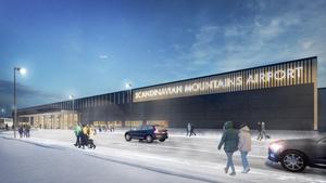 Terminalen i Sälen ska bli 6 000 kvadratmeter stor. Illustration: Daniel Boberg, agnasARK arkitektkontor