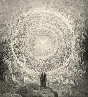 Horace Engdahl berättar en myt där barnen innan de föds förs av änglar till världen genom en tunnel. Gustave Dorés illustration till Dante Alighieris