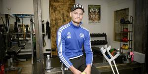 Petter Thelin har börjat rehabträningen på gymmet efter korsbandsoperationen.