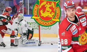 Till vänster: Michael Keränen ser Spencer Abbotts ledningsmål till 1–0 gå in. Foto: Ulf Palm/TT och Daniel Eriksson/Bildbyrån