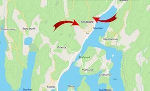 De 70 nya bostäderna, villorna, radhusen och flerfamiljshusen, är tänkta att byggas på platserna som markeras de röda pilarna. Karta: Google maps