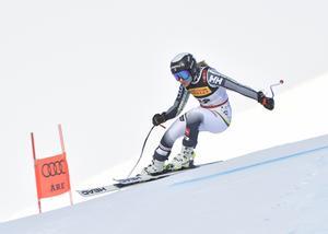 Lin Ivarsson under tisdagens super-G. Foto: TT/Pontus Lundahl