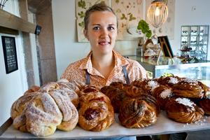 Andrea Skott Dahlgren startade upp sin gammelmorfars café i Funsädalen. Tidigare hade hon enskild firma för specialdesignade tårtor. Foto: Privat